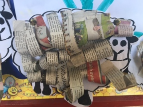 Pupils created some very lovely sheep using newspaper.